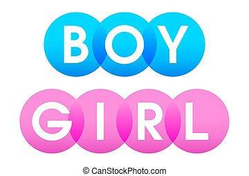 BOY and GIRL letters in white capitals over blue and pink circles