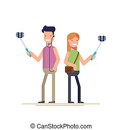 Boy and girl make selfie photos on a smartphone. Stick to shoot a photo with your phone. Happy people. Vector illustration in a flat style isolated on white background.