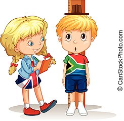 Boy and girl measure the height