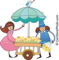 Boy and Girl near flower cart