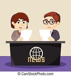 boy and girl news anchor