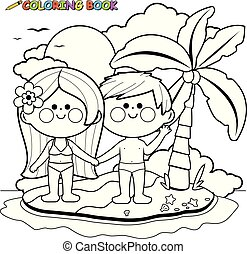 Boy and girl on a tropical summer island. Vector black and white coloring page