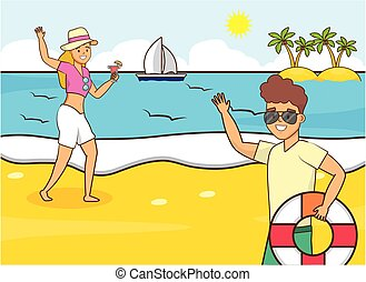 Boy and girl on holiday,guy with glasses. a hat girl in a ...