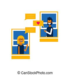 Boy and girl on online social media chat concept