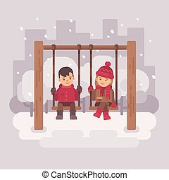 Boy and girl on swings in a winter city park. Two children having fun. Valentines day flat illustration