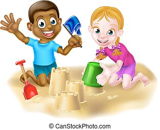 Boy and Girl on The Beach - Cartoon friends playing on the...