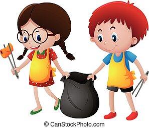 Boy and girl picking up trash illustration