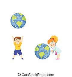 Boy and girl plaing with big glove, save the Earth