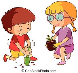 Boy and girl planting tree