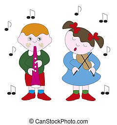 Boy and girl playing a melody on a musical instrument.