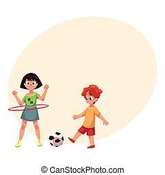 Boy and girl playing football and spinning hula hoop at playground