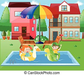 Boy and girl playing in the water at home