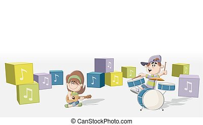 Boy and girl playing music