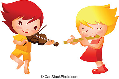 Boy and Girl playing musical instru