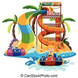 Boy and girl playing water slide illustration