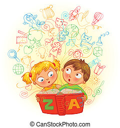 Boy and girl reading a magic book. In the book come to life...