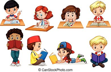 Boy and girl reading and writing