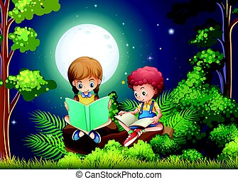Boy and girl reading books in the woods at night