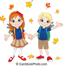 Boy and girl ready to school at autumn day.