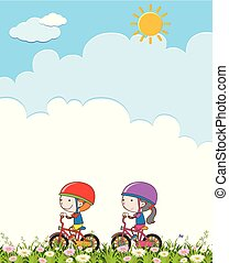 Boy and Girl Riding a Bicycle