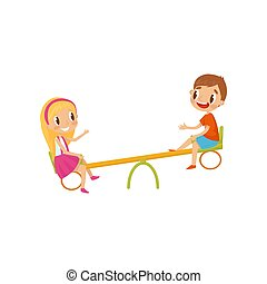 Boy and girl riding on seesaw, kids on a playground vector Illustration on a white background