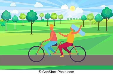 Boy and Girl Riding Tandem Bicycle Illustration