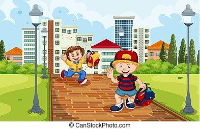 Boy and girl running from schooll