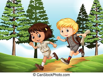 Boy and girl running in the park
