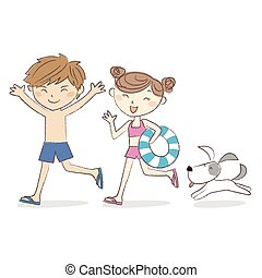 Boy and girl running with suimwear