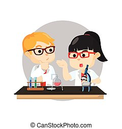 boy and girl scientist
