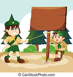 boy and girl scout uphold a sign