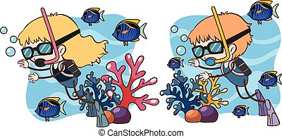 Boy and Girl Scuba Diving Underwater