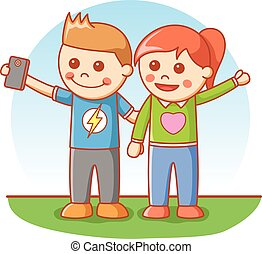 Boy and girl selfie