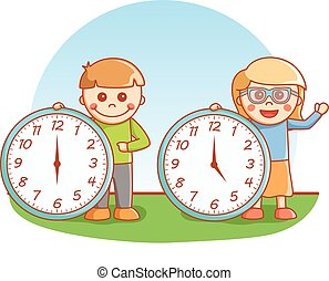 Boy and girl showing clock