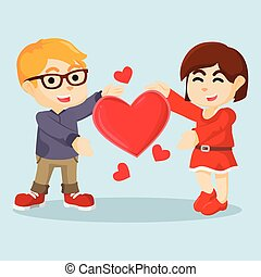 boy and girl showing giant heart
