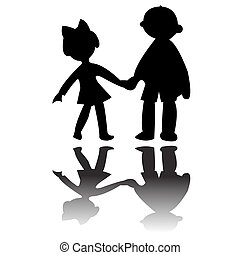 boy and girl silhouettes, vector art illustration; more...