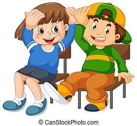 Boy and girl sit on the chair
