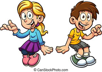 Boy and girl sitting - Cartoon boy and girl sitting next to...