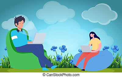 boy and girl sitting in a garden working on laptop