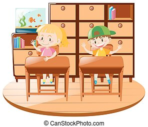 Boy and girl sitting on desk in the classroom