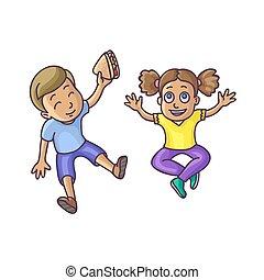Boy and girl sitting on floor top veiw