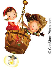 Boy and Girl sitting on hanging barrel