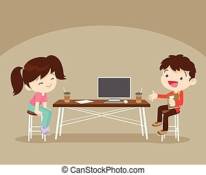 boy and girl sitting work table