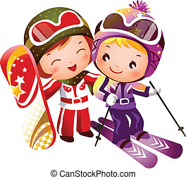 There are one boy and one girl skiing. They have on ski jackets and ski boots.