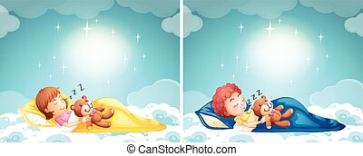 Boy and girl sleeping in bed illustration