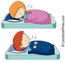 Boy and girl sleeping on bed