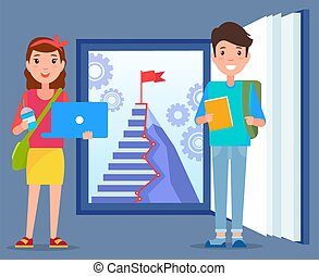 Boy and Girl Stand near Book with Door to Success