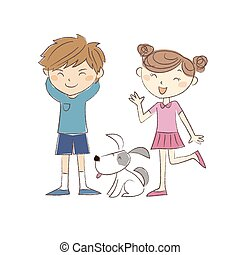 Boy and girl standing with a dog