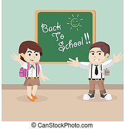 boy and girl student back to school