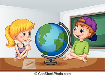 Boy and girl studying geography